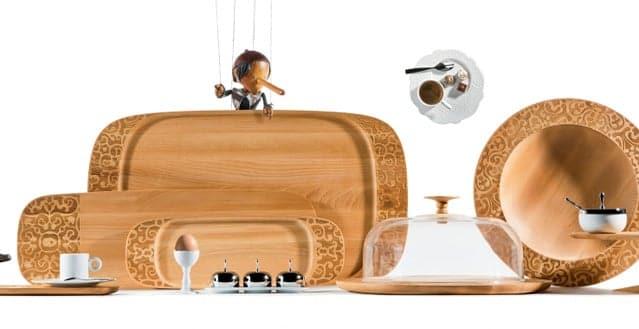 Alessi dressed in wood articoli per la tavola in legno for Centrotavola alessi prezzi